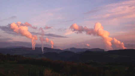 Geothermal steam vents in the Val di Cecina near Pomarance